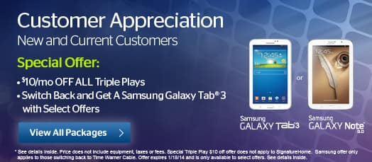 Time Warner - Ultimate Internet (50 Mbps down) + Free Galaxy Tab $64.99 per month YMMV