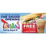 Free Lee's coffee with sandwich purchase through Aug 31, 2015