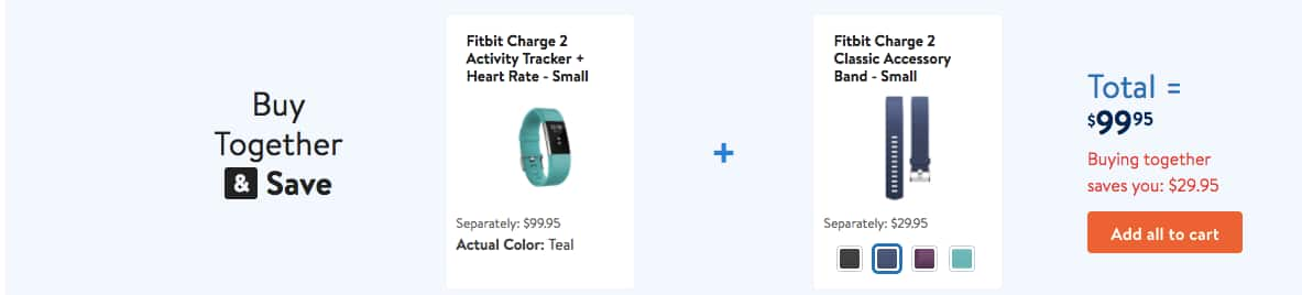 Fitbit Charge 2 Heart Rate Small (Color Teal) + Classic Accessory Band - $99