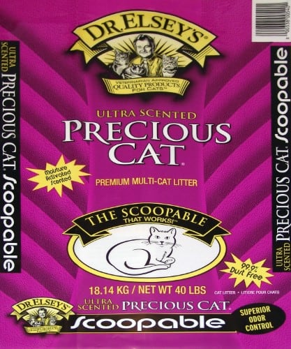 Precious Cat Dr. Elsey's Ultra Scented Scoopable Multi-Cat Cat Litter, 40 Pound- $12.20/each or less (Minimum 4 bags) + Free shipping, no tax