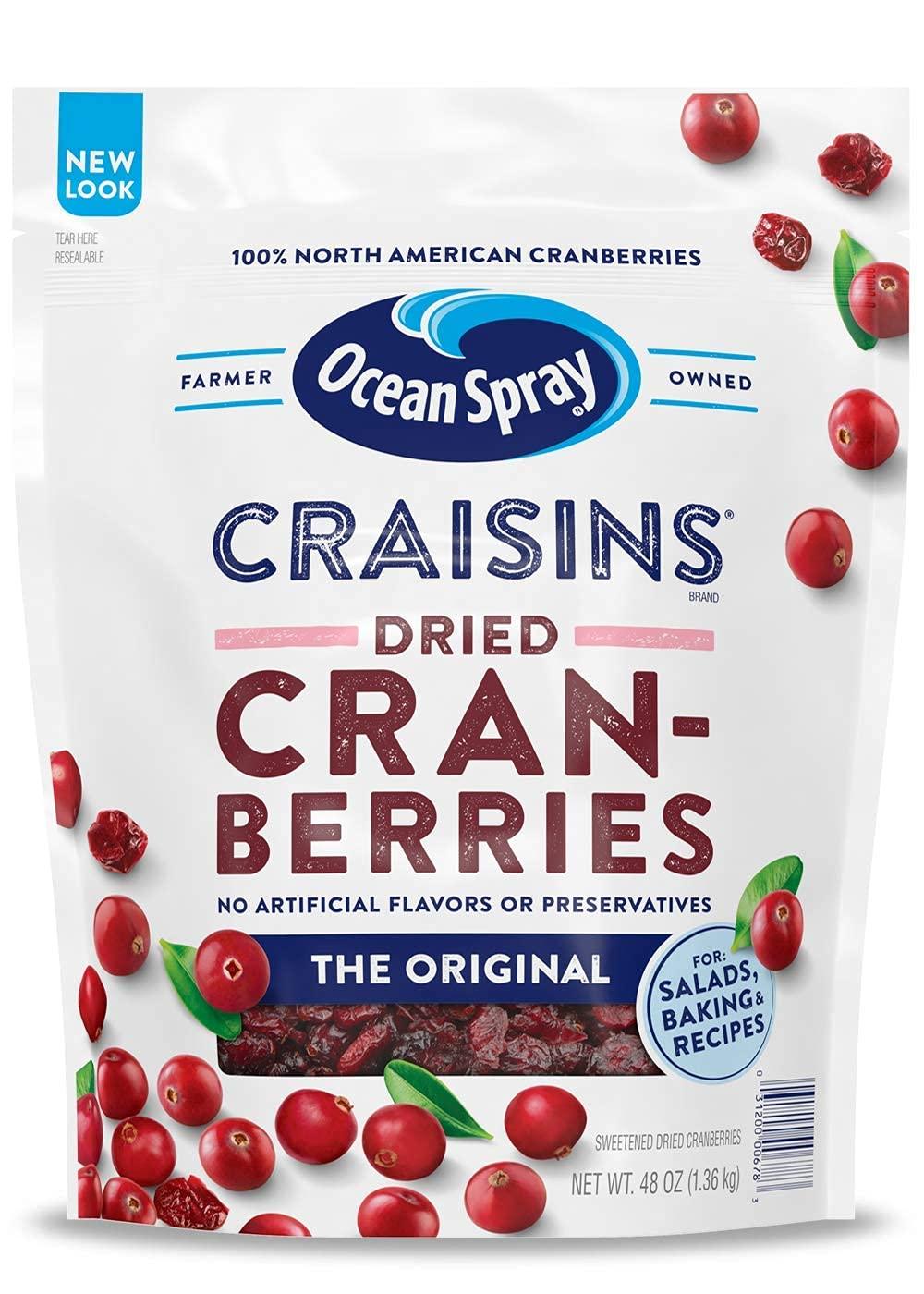 Ocean Spray Craisins Dried Cranberries, 3  pounds, $6.68 at Amazon $6.68