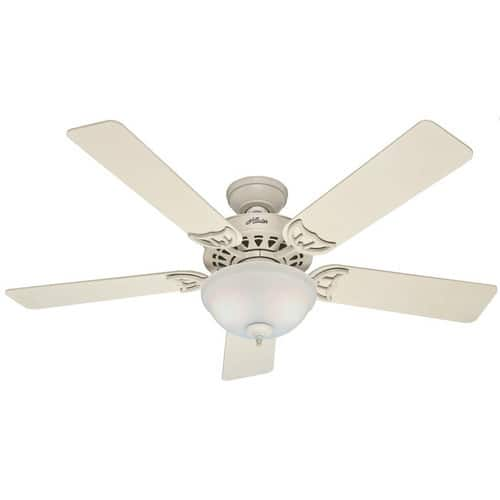 Hunter 53173 The Sonora 52-Inch French Vanilla Ceiling Fan with Five French Vanilla/Bleached Oak Blades and Bowl Light Kit $70.57