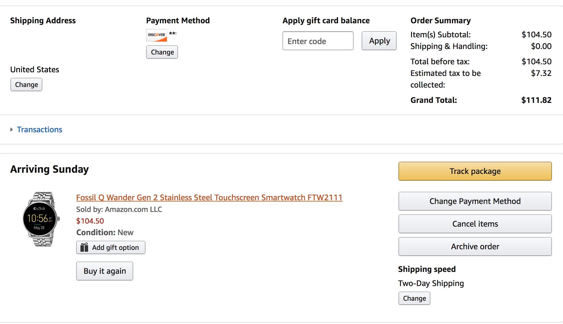 Fossil Q Wander Gen 2 Stainless Steel Touchscreen Smartwatch FTW2111 $104.50 at Amazon