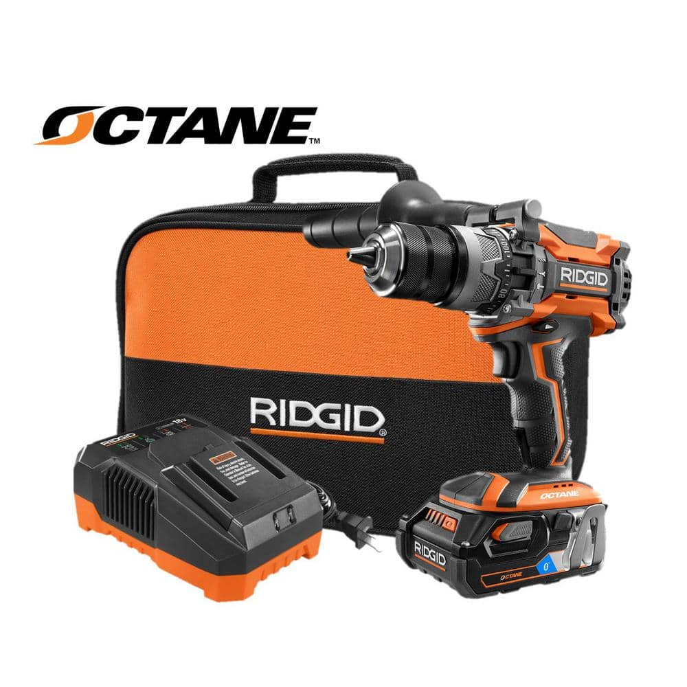 RIDGID 18-Volt OCTANE LIthium-Ion Cordless Brushless 1/2 in. Hammer Drill Kit with OCTANE 3.0 Battery, Charger, and Bag - intentional repost., B & M only, YMMV $80