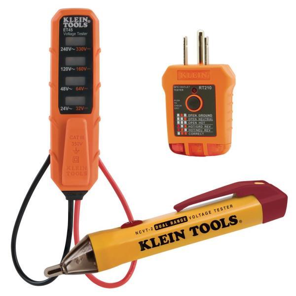 Klein Tools 3-Pc Voltage Tester Set, Dual-Range Non-Contact Voltage Tester and Outlet Tester Tool Set $24.88
