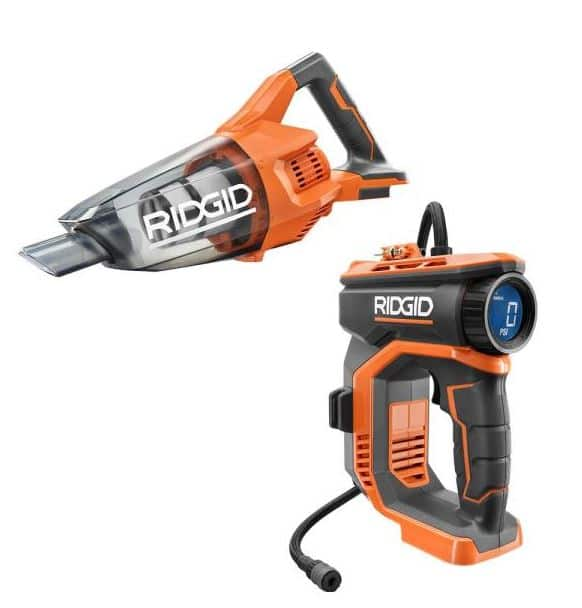 RIDGID 18V Cordless High Pressure Inflator and Compact Hand Vacuum $89 (Tools Only)