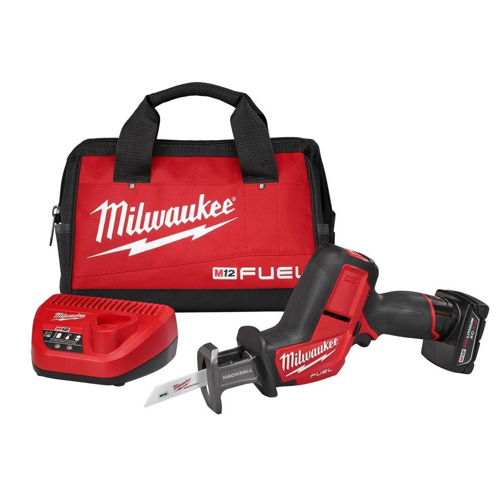 $131.33, Milwaukee M12 FUEL 12-Volt Lithium-Ion Brushless Cordless HACKZALL Reciprocating Saw Kit w/ One 4.0Ah Batteries Charger & Tool Bag-2520-21XC - The Home Depot