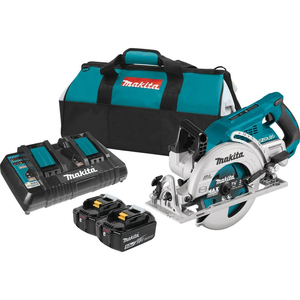 Makita 18-Volt X2 LXT 5.0Ah Lithium-Ion (36-Volt) Brushless Cordless Rear Handle 7-1/4 in. Circular Saw Kit-XSR01PT - The Home Depot $249