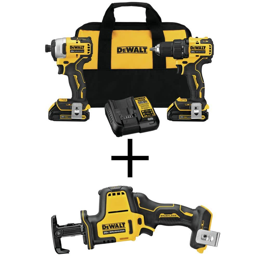 DEWALT ATOMIC 20-Volt MAX Cordless Brushless Compact Drill/Impact Combo Kit (2-Tool) with ATOMIC Compact Reciprocating Saw-DCK278C2W369B - The Home Depot $219