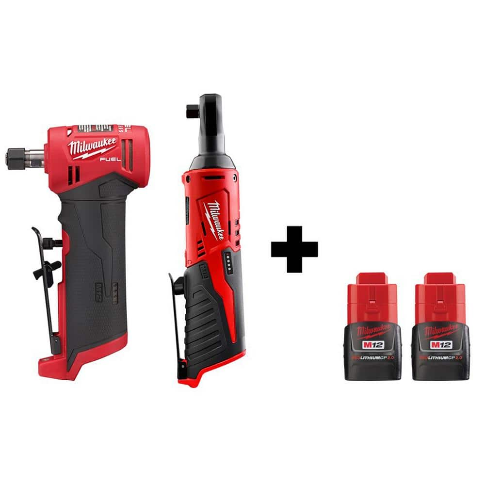 Milwaukee M12 FUEL 12-Volt Lithium-Ion Brushless Cordless 1/4 in. Right Angle Die Grinder and 3/8 in. Ratchet with 2 Batteries $259