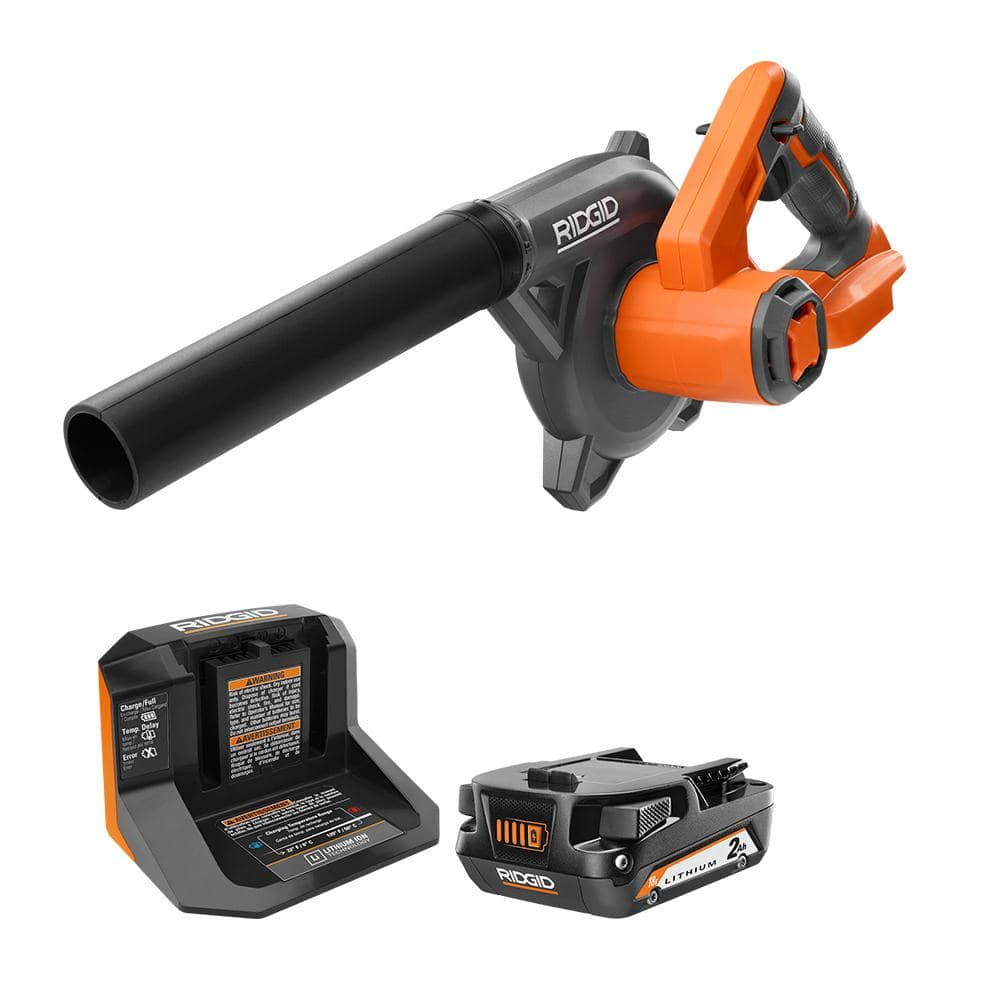 RIDGID 18V Compact Cordless Blower Kit with (1) 2.0 Ah Battery and Charger-R86043KSBN - The Home Depot $79