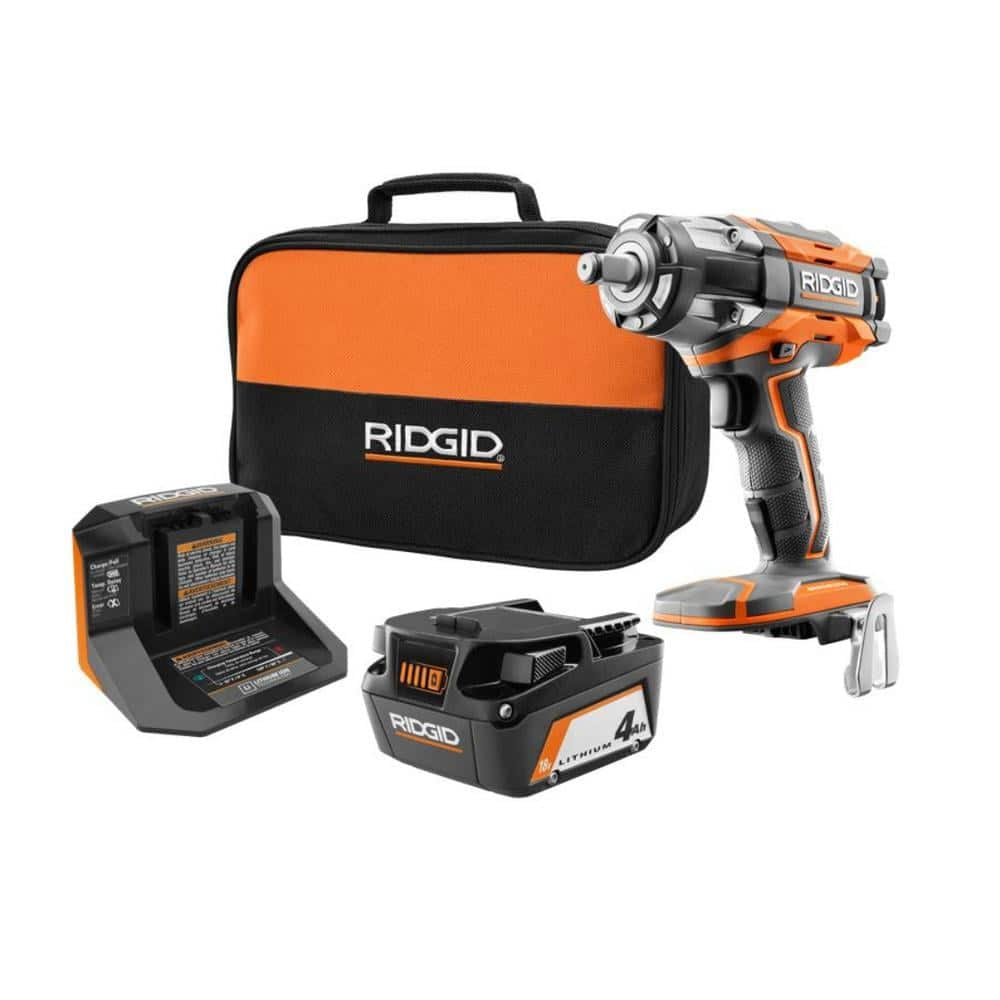 RIDGID 18V OCTANE Brushless Cordless 1/2 in. Impact Wrench Kit with (1) 4.0 Ah Battery and Charger-R86011KSB2N - The Home Depot $159