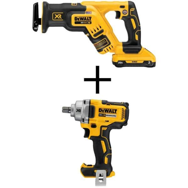 DeWalt, 20-Volt MAX Li-Ion Cordless Brushless Compact Reciprocating Saw w/ 20-V 1/2 in. Impact Wrench with Detent Pin(Tool-Only) $259