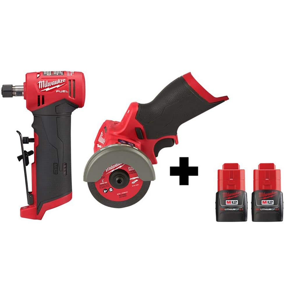 Milwaukee M12 FUEL 12-Volt Lithium-Ion Brushless Cordless 1/4 in. Right Angle Die Grinder and Cut Off Saw with 2 Batteries-2485-20-2522-20-48-11-2420X2 - The Home Depot $299