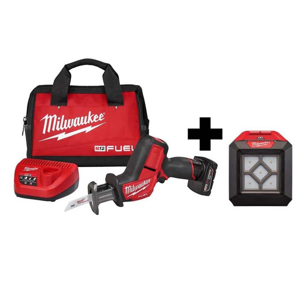 Milwaukee M12 FUEL 12-Volt Lithium-Ion Brushless Cordless HACKZALL Reciprocating Saw Kit W/ M12 LED Flood Light-2520-21XC-2364-20 - The Home Depot $179