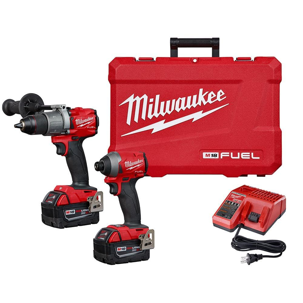 Milwaukee M18 FUEL 18-Volt Lithium-Ion Brushless Cordless Hammer Drill and Impact Driver Combo Kit (2-Tool) with Two 5Ah Batteries-2997-22 - $295.91 with the hack! $399