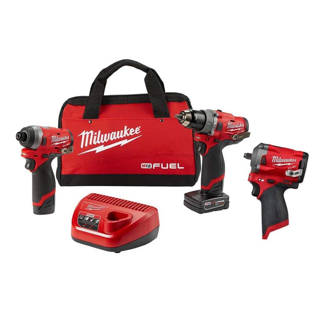 Milwaukee M12 FUEL 12-Volt Lithium-Ion Brushless Cordless Hammer Drill and Impact Driver Combo Kit (2-Tool) W/ Impact Wrench-2598-22-2554-20 - The Home Depot $253.70!