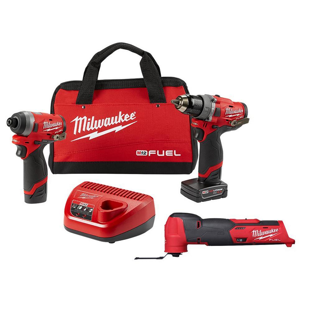 Milwaukee M12 FUEL 12-Volt Li-Ion Brushless Cordless Hammer Drill/Impact Driver Combo Kit (2-Tool) w/ Oscillating Multi-Tool-2598-22-2526-20 - The Home Depot $253.70. $359