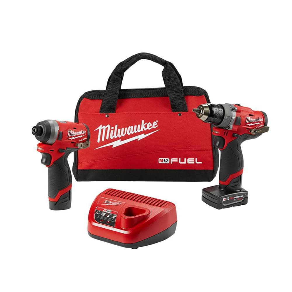 Milwaukee M12 FUEL 12-Volt Lithium-Ion Brushless Cordless Hammer Drill and Impact Driver Combo Kit w/ 2 Batteries and Bag (2-Tool)-2598-22 - The Home Depot, $138.73!