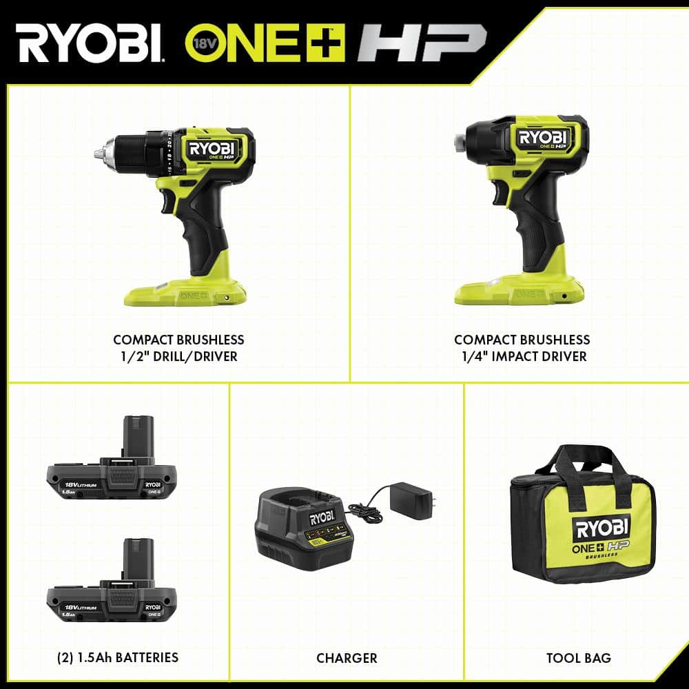 RYOBI ONE+ HP 18V Brushless Cordless Compact 1/2 in. Drill and Impact Driver Kit with (2) 1.5 Ah Batteries, Charger and Bag $139.94 at Home Depot