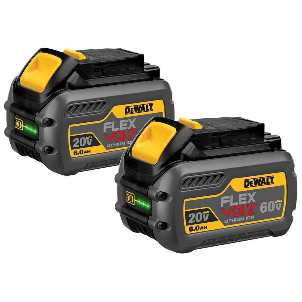 $169, DeWALT DCB606-2 FLEXVOLT 20/60-Volt 6.0Ah Tri-Platform Battery Pack - 2pk
