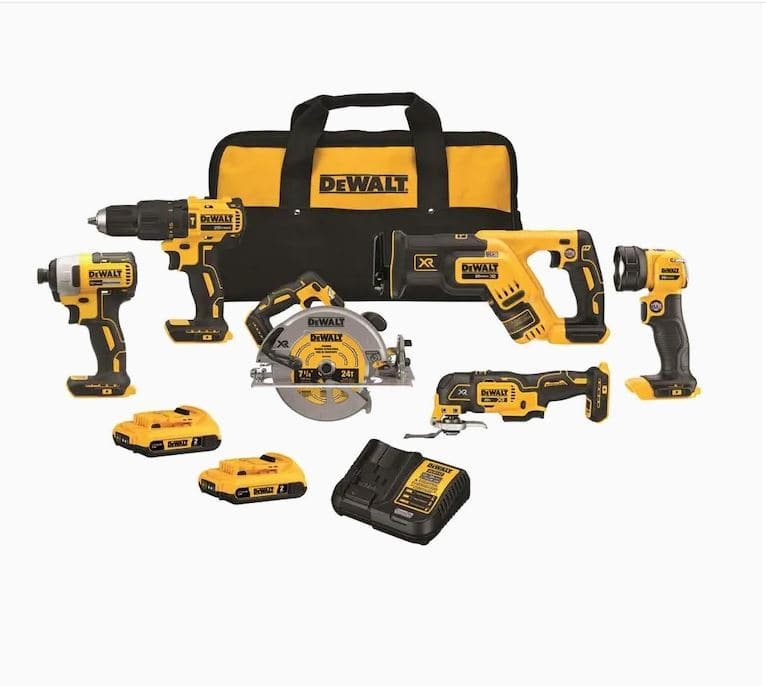 $499, DeWalt 6-Tool 20-Volt Max Brushless Power Tool Combo Kit with Soft Case (Charger Included and 2-Batteries Included)