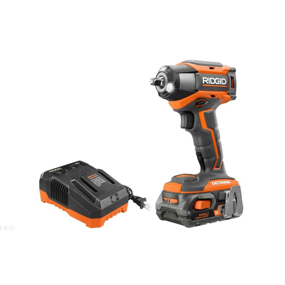 $139 Rigid 18-Volt OCTANE Cordless Brushless 3/8 in. 6-Mode Impact Wrench Kit with 2.0 Ah Battery and 18-Volt Charge