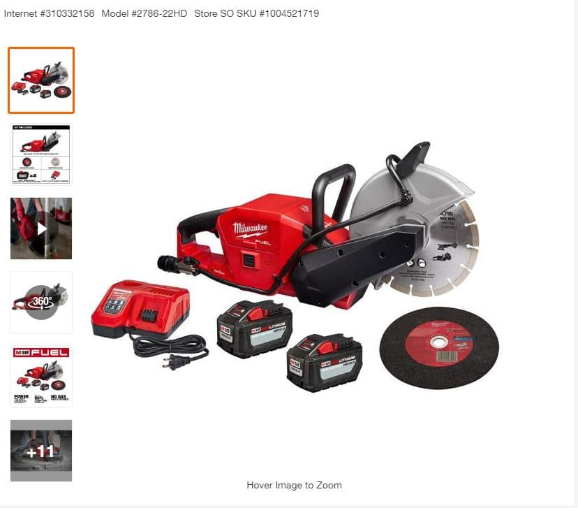 $599, Milwaukee M18 FUEL ONE-KEY 18-Volt Lithium-Ion Brushless Cordless 9 in. Cut Off Saw Kit W/ (2) 12.0Ah Batteries & Rapid Charger