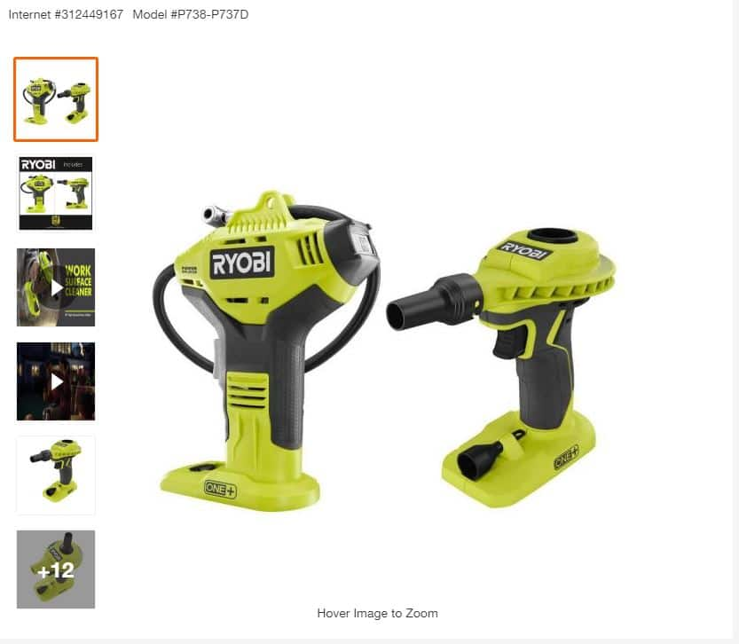 $49.97, Ryobi 18-Volt ONE+ Cordless Power Inflator and High Volume Inflator 2-Tool Combo Kit (Tools Only) $49.97