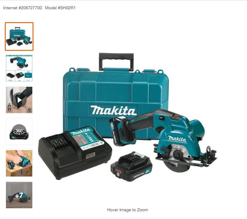 $99, Makita 12-Volt Max CXT Lithium-Ion Cordless 3-3/8 in. Circular Saw Kit, Case (2.0Ah)