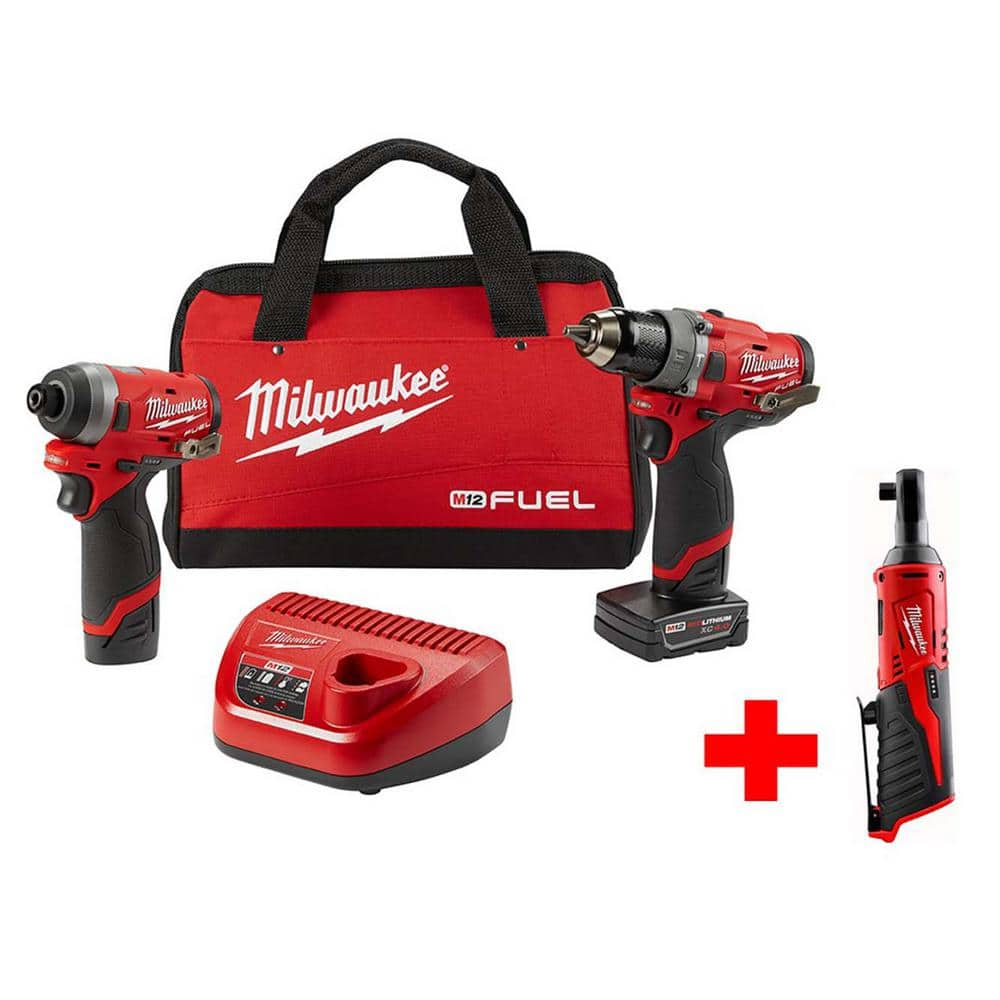 M12 FUEL 12-Volt Li-Ion Brushless Cordless Hammer Drill and Impact Driver Combo Kit (2-Tool)w/ Free M12 3/8 in. Ratchet $199.00