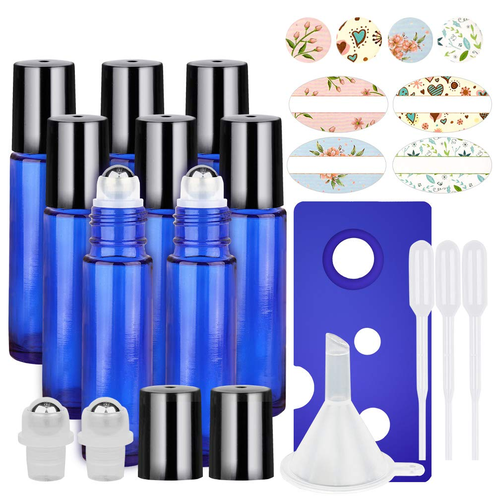 8 Pack of 10ml Cobalt Blue Glass Roll on Bottles w/ Stainless Steel Roller Balls $3.60 at Amazon