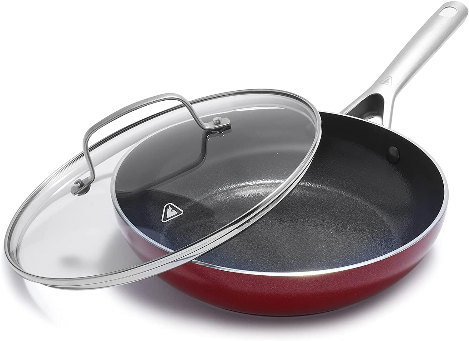 """11"""" Red Volcano Textured Ceramic Nonstick All Purpose Pan with Lid $19 + Free S/H w/ Prime"""
