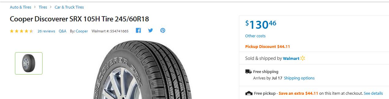 Cooper Discoverer SRX 105H Tire 245/60R18 Set of 4 <$300 after pickup discount & rebate @ walmart
