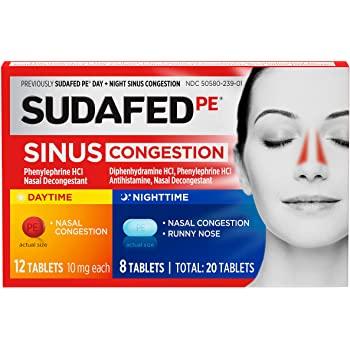 20-Count Sudafed PE Sinus Congestion Day + Night Maximum Strength Decongestant Tablets $1.29 @ Amazon