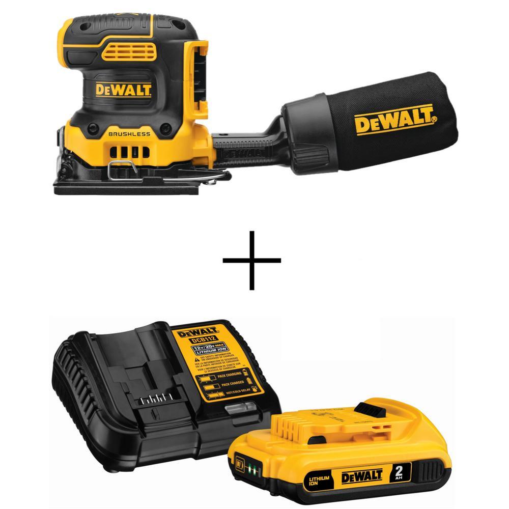 DEWALT 20-Volt MAX XR Cordless Brushless 1/4 Sheet Variable Speed Sander + 20-Volt 2 Ah Li-Ion Battery and Charger + Free shipping @ HomeDepot $99