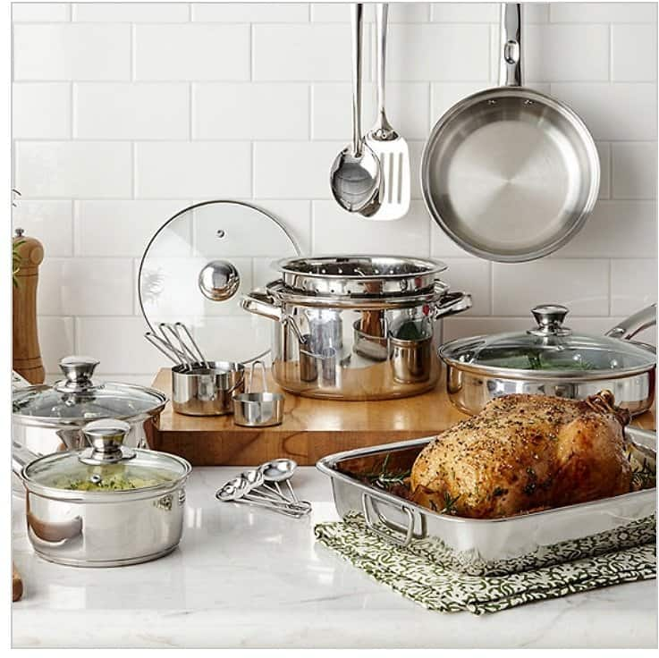 Cooks 21-pc. Stainless Steel Cookware Set $29.99