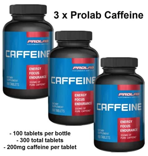 Caffeine pills 200mg 100 tablets by Prolab 3 bottles $12.84