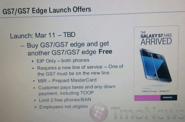 T-Mobile Buy One Get One Galaxy S7/S7 Edge 3-11-16