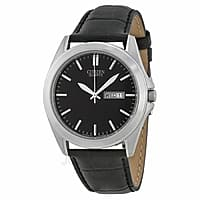 JomaShop Deal: Citizen Watch Sale: Men's Black Dial SS w/ Leather Strap