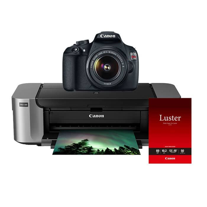 Canon EOS Rebel T5 Digital SLR Camera w/ 18-55mm Lens + Canon PIXMA Pro-100 Printer + 50-pack Photo Paper $399 AR with free shipping