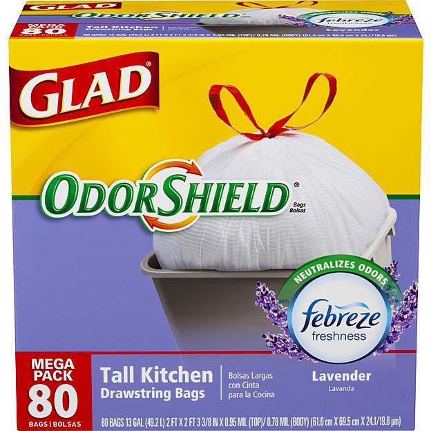 80-Ct Glad 13-Gallon Tall Kitchen Drawstring Trash Bags (Lavender)  $8 + Free Store Pickup