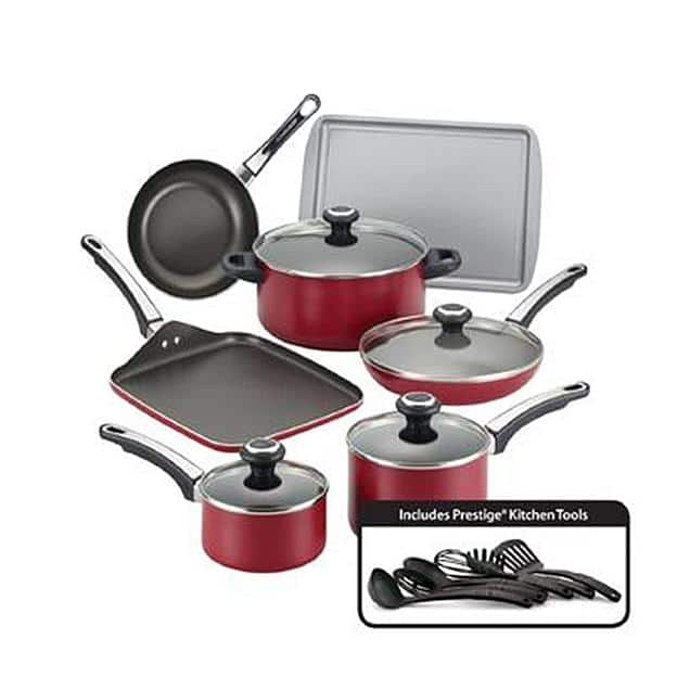 Farberware High Performance Nonstick 17-Piece Cookware Set Red + $50 SYW points $61 @ Sears
