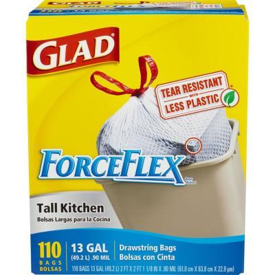 110-Ct 13-Gal Glad ForceFlex Tall Kitchen Drawstring Trash Bags  $9.90 + Free Store Pickup