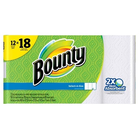 Target Cartwheel:  36-Count Bounty Giant Roll Paper Towels + $10 Target Gift Card  $31.50 (In-Stores only)