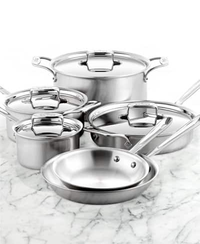 10-Piece All-Clad BD5 Brushed Stainless Steel Cookware Set  $515 & More + Free Shipping