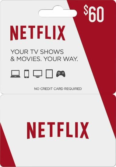 $60 Netflix Gift Card + $10 Best Buy Gift Card  $60 + Free Store Pickup