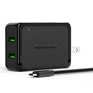 Tronsmart Quick Charge 2.0 4.8A Dual USB Wall Charger + 2x MicroUSB 20AWG Cables $7.99 + Free Shipping w/ Prime or FSSS