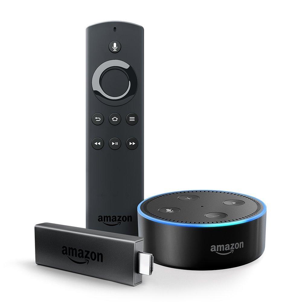Amazon Fire TV Stick w/ Alexa Voice Remote + Echo Dot