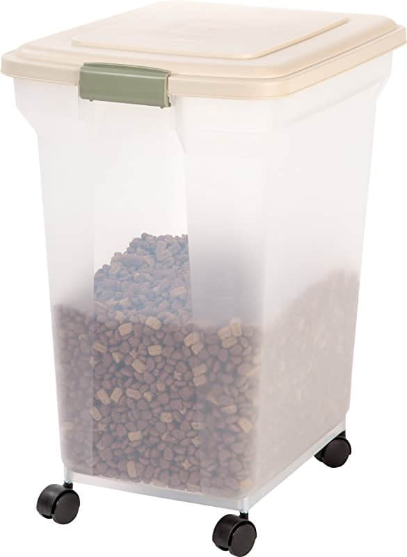 67 Quart IRIS Premium Airtight Pet Food Storage Container Almond